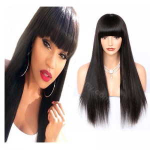 Indian Remy Hair Full Bangs Yaki Straight Glueless Silk Top Non-Lace Wig