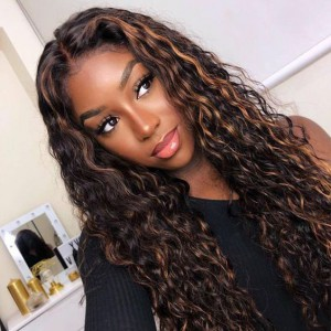 WoWEbony Indian Remy Highlight Color Curly Lace Front Wigs [Tasha]