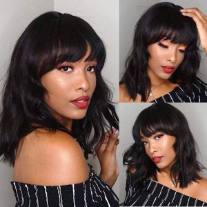 WowEbony Indian Remy Hair Full Bangs Loose Wave Glueless Silk Top Non-Lace Wig [STNLW10]