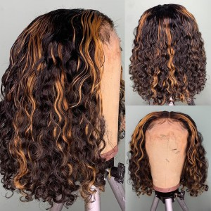 WoWEbony Human Hair Highlight Color #4/27 Curly Glueless Lace Bob Wigs [Cara]