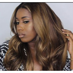 Buy 1 get 2: WowEbony Brazilian Virgin Hair Wavy Balayage Brown/Blonde Color Lace Wigs [Sidia]