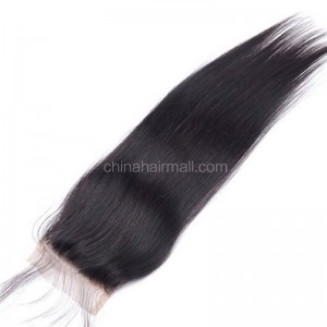 Brazilian Virgin Human Hair 4*4 Popular Lace Closure Silk Straight Natural Hair Line and Baby Hair [BVSSTC]