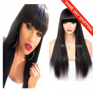 WowEbony 18inch #1 Jet Black Color 150% Density Full Bangs Yaki Straight Glueless Silk Top Non-Lace Wig Indian Remy Hair [Naomi]