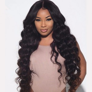 WowEbony 6 inches Deep Part New Spiral Deep Body Wave Lace Front Wigs Indian Remy Hair, 150% Density, Natural Color [DLFW08]