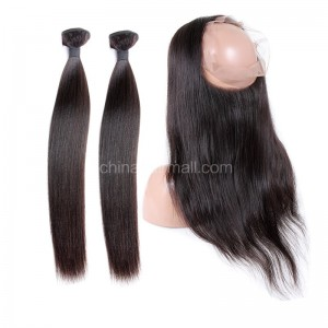 Peruvian Virgin Human Hair 360 Lace Frontal 22.5*4*2 Inch + 2 Bundles Yaki Straight