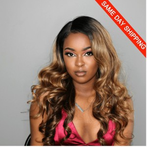 Same Day Shipping: WowEbony Ombre Highlight Color #2/27/4 Indian Remy Hair Wavy Glueless Lace Front Wigs [OMBREL022]