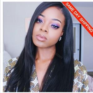 180% density Brazilian Virgin Hair Pre-Plucked 360 Lace Wigs Yaki Straight