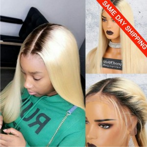Same Day Shipping: WowEbony Indian Remy Hair Natural Straight Dark Roots Blonde Hair Lace Front Wig [N360BL01]