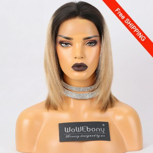 WowEbony Ombre Bob Lace Front Wigs Indian Remy Human Hair, Yaki Straight, #NC/#27A [LFW105]