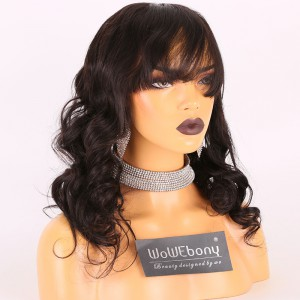 Same Day Shipping Clearance Sale 16 inches Natural Color 150% Density Medium cap size Indian Remy Hair Wavy 360 Lace Wig With Bangs[TH40]