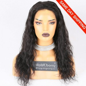 Same Day Shipping Clearance Sale 18 inches #1B Color 130% Density Medium cap size Malaysian Virgin Hair Natural Wave Full Lace Wig