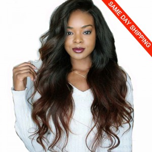 In Stock Glueless Lace Front Wigs Indian Remy Hair Ombre Chocolate Brown 18inches Left Side Part