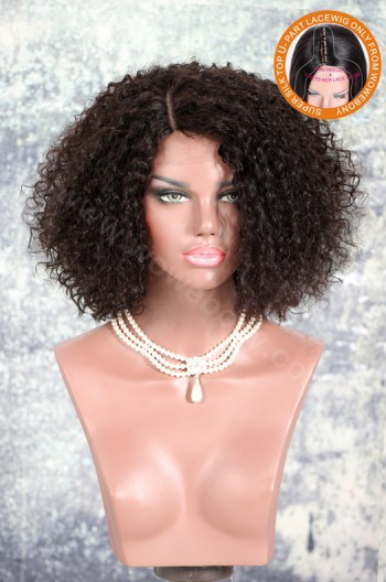 New Designed Indian Remy Hair Curls Glueless Silk Part Lace Wig Left Part [SPLW15]
