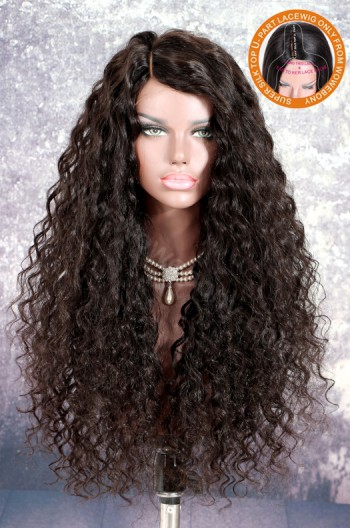 New Designed Indian Remy Hair Loose Wave Glueless Silk Part Lace Wig Left Part 24 Inches [SPLW12]