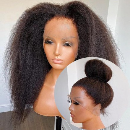 WoWEbony Brazilian Virgin Hair 28inches Natural Color 130% Density Kinky Straight Full Lace Wigs [KKSFLW01]