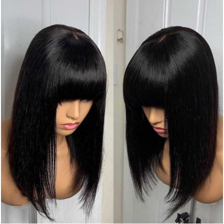 WowEbony Indian Remy Hair Full Bangs Yaki Straight Glueless 3.5 x 3 Silk Top Closure Wig [Bangs01]