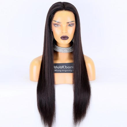 WoWEbony Luxury Brazilian Virgin or Indian Remy Hair Straight Texture 150% Density Regular Swiss or HD Lace Full Lace Wigs [FHDSS01]