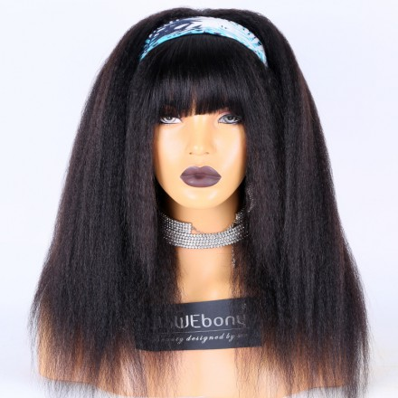 WoWEbony Indian Remy Hair Kinky Straight Headband Wigs With Free Bangs and Free Head Band[HBW12]