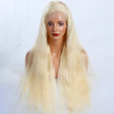 Blonde #613 Color Glueless Full Lace Wigs Peruvian Virgin Hair Natural Straight
