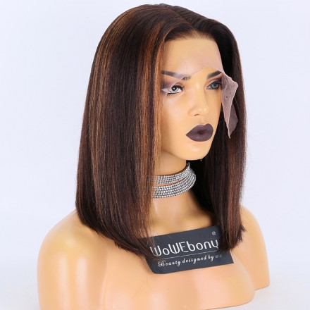 Fast Shipping WoWEbony Blunt Cut Bob Highlight Color Preplucked 13X6 Deep Part Lace Front Wig[DLFWBOB11]