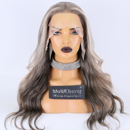 WoWEbony Luxury Human Hair 3-tone Color in Ombre and Highlight in White Silver Ash Blonde Color Wavy Transparent Lace Frontal Wigs [Nikki]