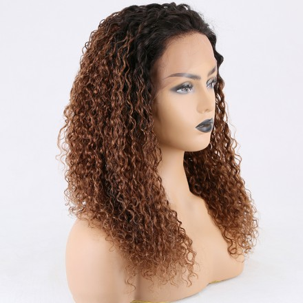 Stocked WoWEbony 18inches Indian Remy Hair Curly Ombre Natural Color to #30 Color Lace Front Wigs [Mary]