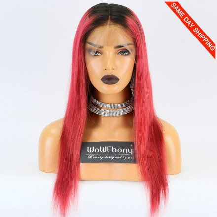 Same Day Shipping WowEbony Indian Remy Hair Silky Straight Dark Roots Red Hair 360 Wig