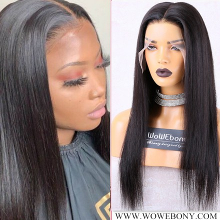WoWEbony Invisible HD Transparent Single Knots Indian Remy Hair Silky Straight Full Lace Wigs [FHDSS01]