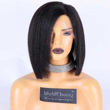 WoWEbony Natural Color 150% Density Indian Remy Hair Italian Yaki Straight Blunt Bob Cut Lace Front Wigs[Monica]