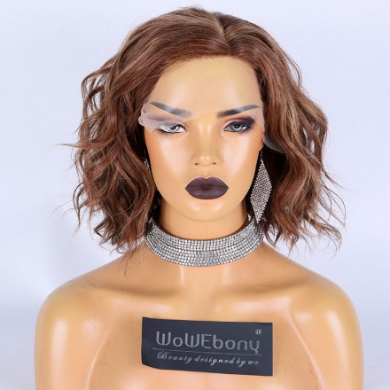 WowEbony Highlight Red with Blonde Color Indian Remy Hair Wavy Bob Cut Lace Front Wigs[Caramel]