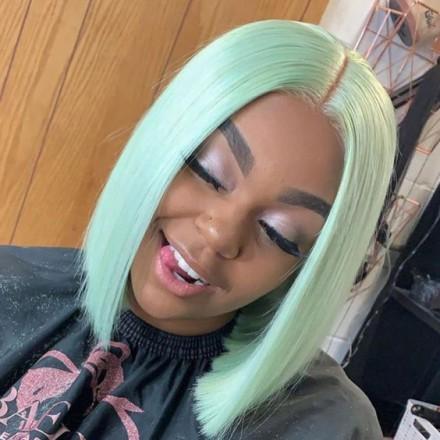 WowEbony Indian Remy Hair Light Green Straight Bob Cut T Part Lace Front Wigs[LG-bob]
