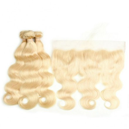 Indian Remy hair wefts and 13*4 Lace Frontal Body Wave 3+1 pieces a lot Natural Color Hair Bundles 95g/pc [Blonde3+1]