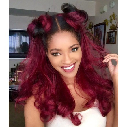 Stocked WoWEbony 18inches Indian Remy Hair Wavy Ombre NC/ Wine Red Color Lace Front Wigs [Rosemary]