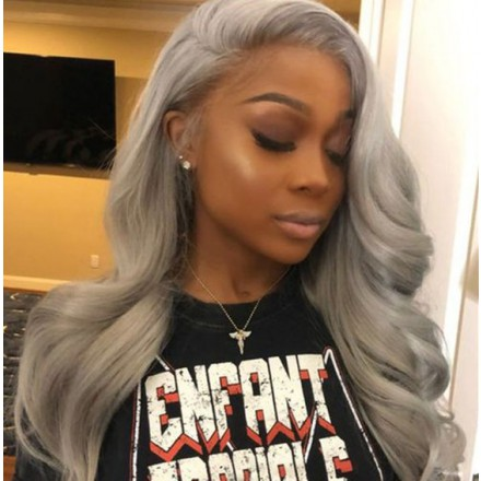 WoWEbony Indian Remy Hair Ash Grey Color Hair Wavy Lace Front Wig [Jeniffer]