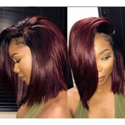 Fast Shipping WoWEbony Blunt Cut Bob Ombre Burgandy Color Preplucked Lace Wig[DLFWBOB10]