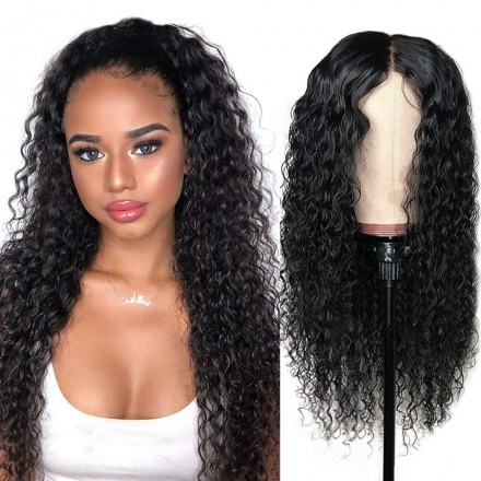 Fast Shipping WowEbony 15MM Curly Glueless Lace /Silk Part Affordable Lace Wig Indian Remy Hair[Joy]