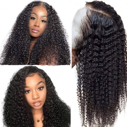 WowEbony Indian Remy Hair Kinky Curly Lace Front Wigs [DLFW11]