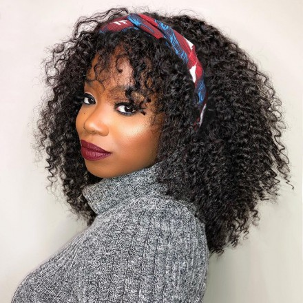 WoWEbony Indian Remy Hair 15mm Curly Headband Wigs With Free Bangs and Free Head Band[HBW11]