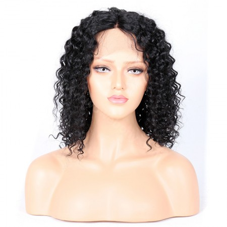WowEbony Curly Glueless Silk T Part Lace Wig Indian Remy Hair [SPLW03]