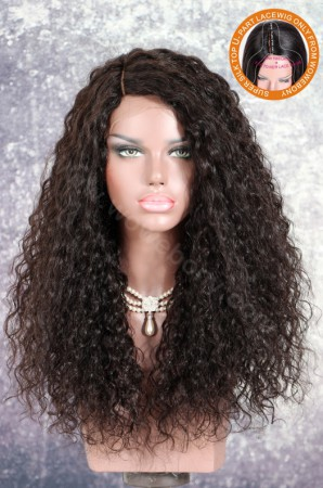 WowEbony New Designed Indian Remy Hair Mia Curl Glueless Silk Part Lace Wig Right Side Part 20 Inches [SPLW11]