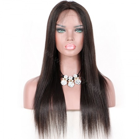 WowEbony Light Yaki Glueless Lace Part Lace Wig Indian Remy Hair [LPLW06]