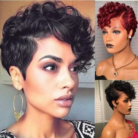 Fast Shipping WowEbony Human Hair Pixie Cut Short Hair Curve T Part Glueless Lace Wigs [Curve15]