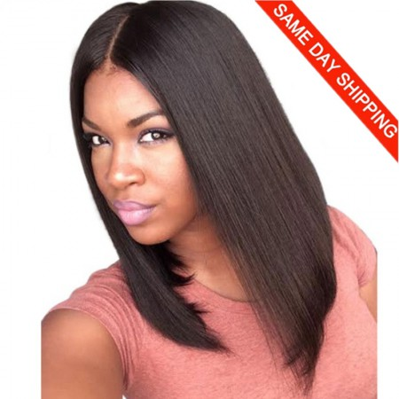 Same Day Shipping: WowEbony Pre-Plucked 360 Lace Wigs Yaki Straight Bob Wig,150% density, Indian Remy Hair Short Bob Wig [360YS02]
