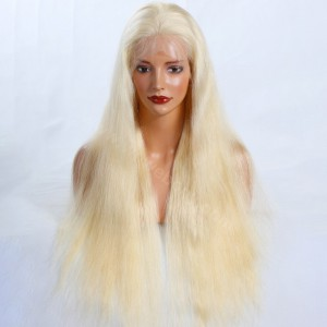 WowEbony Blonde #613 Color Glueless Full Lace Wigs Peruvian Virgin Hair Natural Straight In Stock!! [GBLFW03]