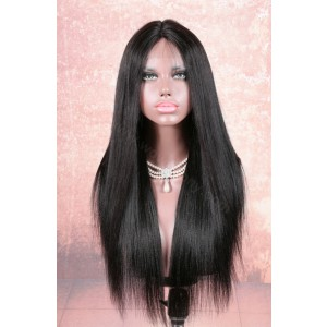 Stock Lace Part Lace Wigs Indian Remy Hair Yaki Straight 20 Inches, Color #1B, 180% Hair Density [LPLW12]
