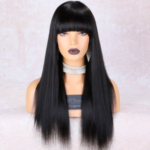 WowEbony Full Bangs Yaki Straight Glueless Silk Top Non-Lace Wig Indian Remy Hair [STNLW08]