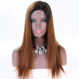 WowEbony Full Lace Wigs Brown Ombre Wigs Malaysian Virgin Hair Yaki Straight [SFW05]