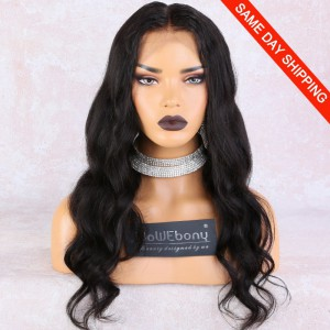 WowEbony 6 inches Deep Part Wave Lace Front Wigs Indian Remy Hair, 150% Density, Natural Color, Pre-Plucked Hairline, Pre-Bleached Knots, Pre-Added Elastic Band, 20 Inches, Natural Color [DLFW06] Same Day Shipping!