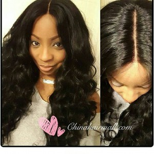 WowEbony 4.5 Inches Deep Part Lace Sexy Big Wave Front Wigs Indian Remy Hair [IR4.5DPLFWBIW]