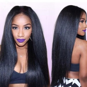 4.5inches Deep part 150% density Indian Remy Hair Pre-plucked hairline 360 Lace Wigs Kinky Straight [360KS01]